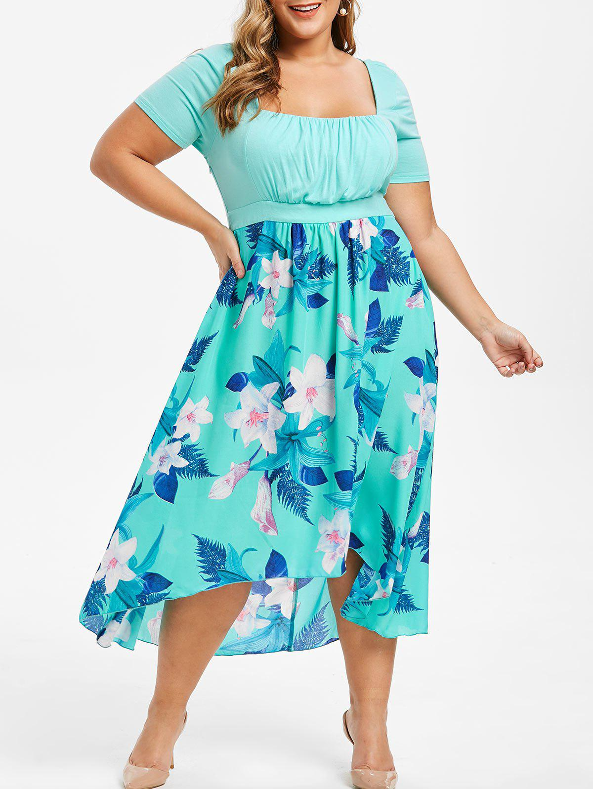 Plus Size Bohemian High Low Floral Maxi Dress, Medium turquoise