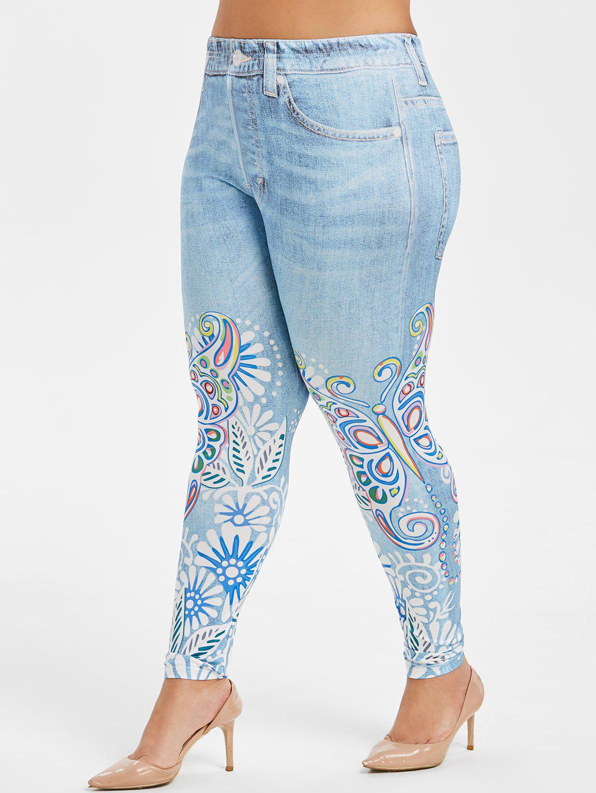 new concept search for genuine good reputation Plus Size Butterfly Floral Print High Waist Faux Denim Leggings