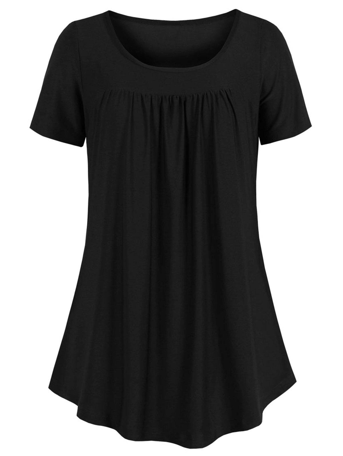 Buy Curved Hem Pleated Tunic Top