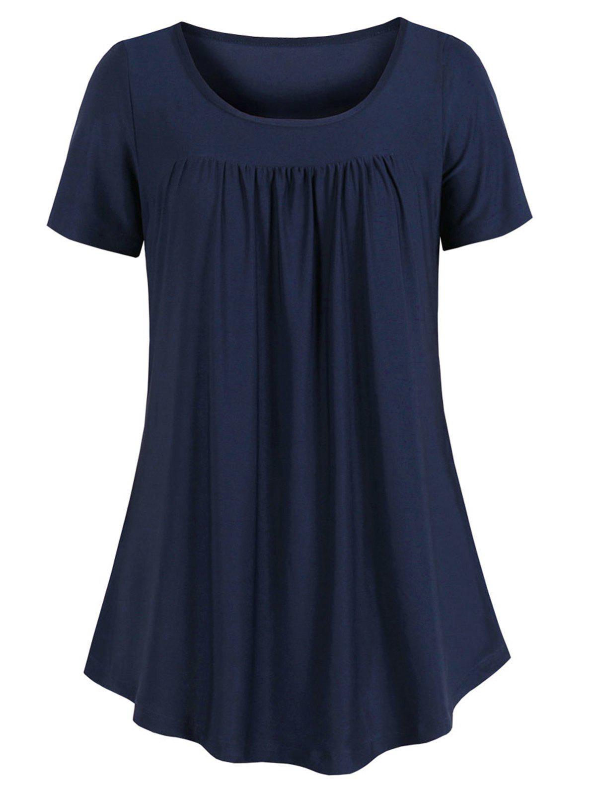Best Curved Hem Pleated Tunic Top