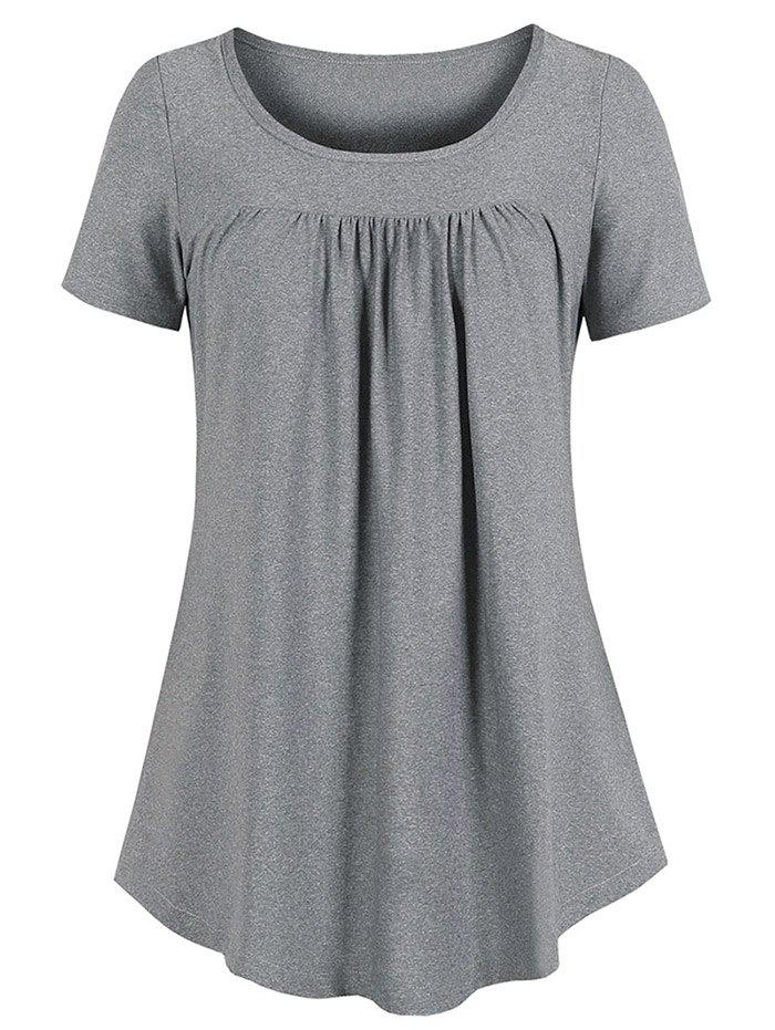 New Curved Hem Pleated Tunic Top