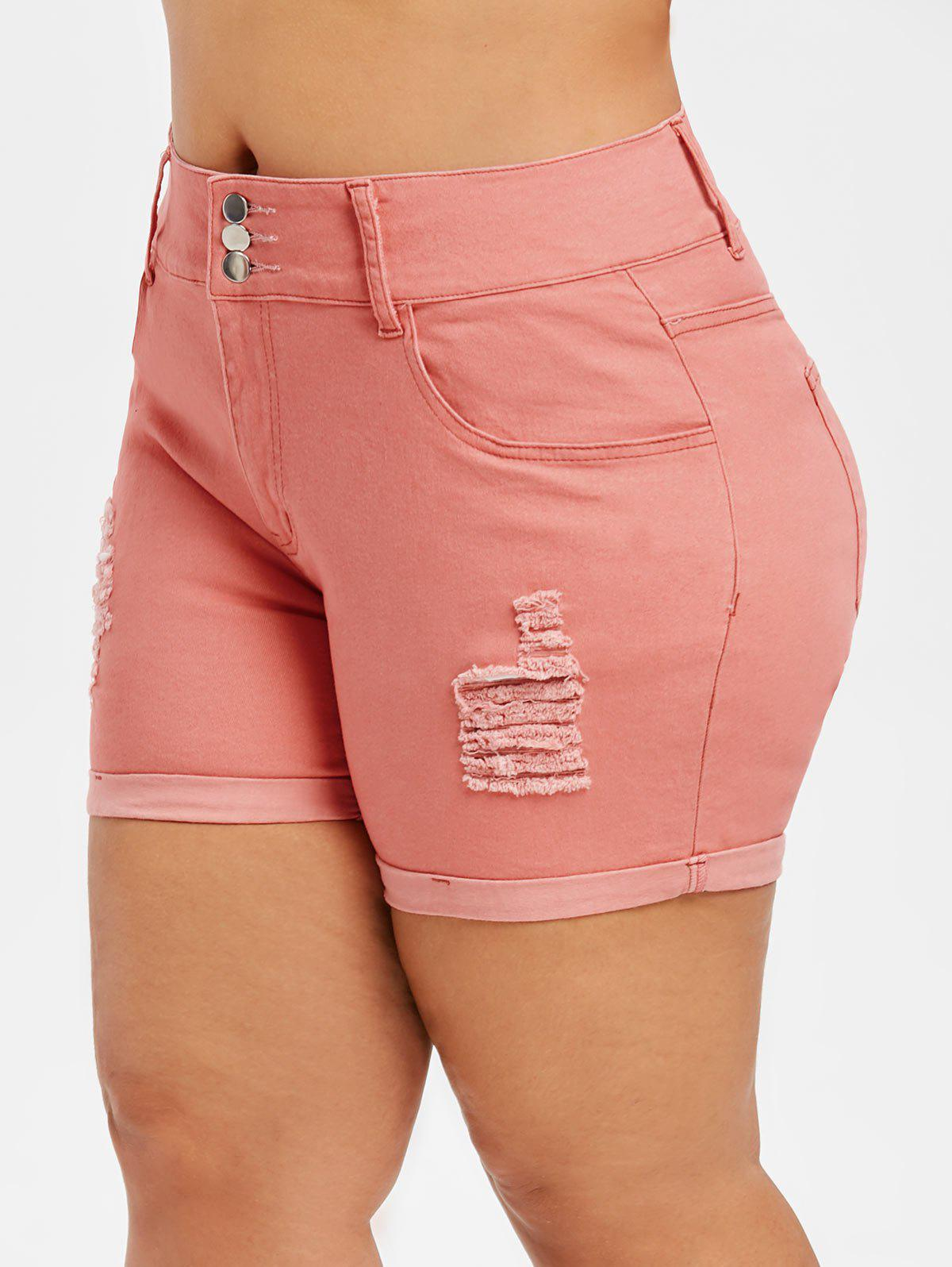 Sale Plus Size Ripped Denim Shorts