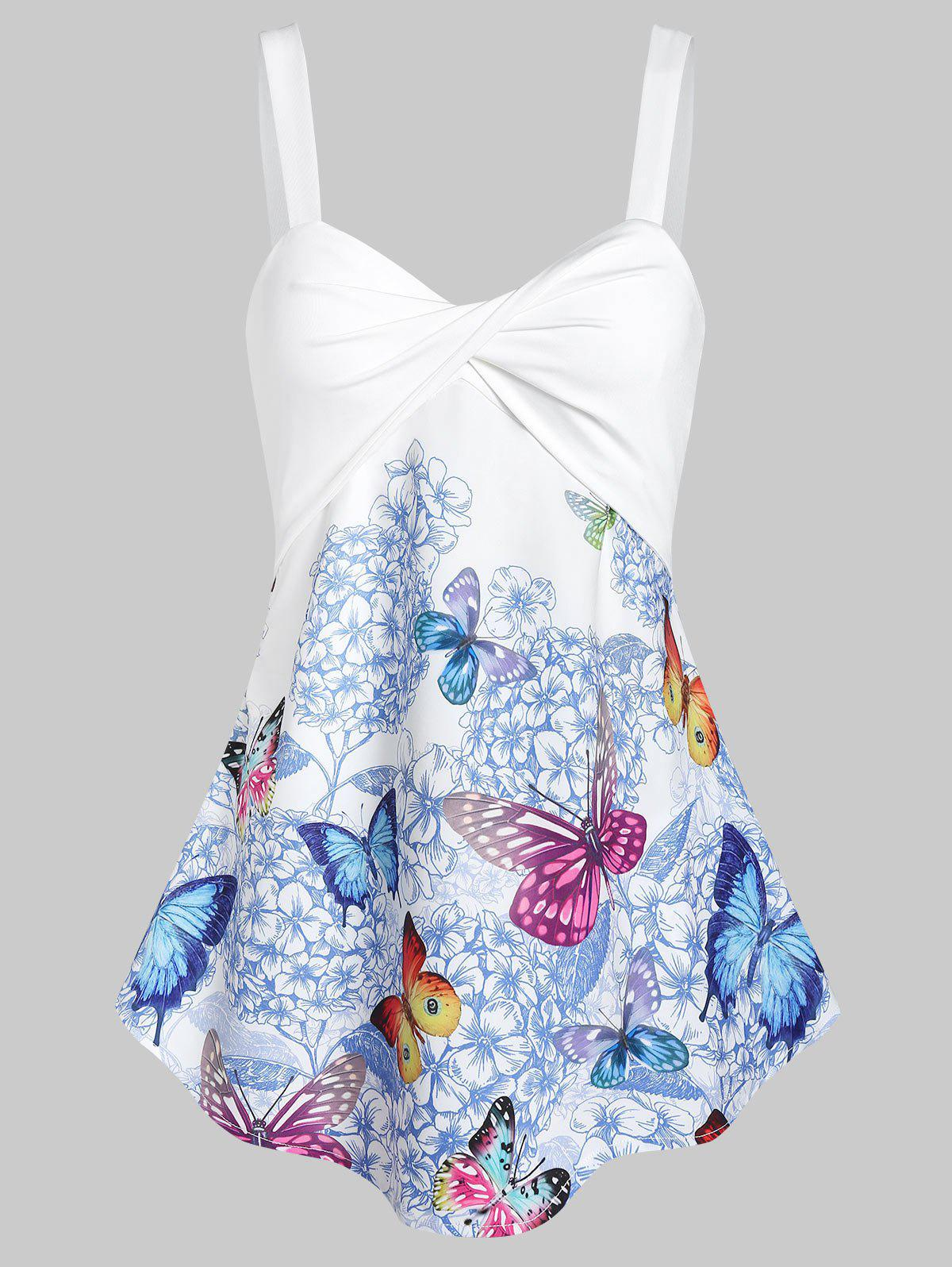 Best Floral Butterfly Print Twisted Trapeze Tank Top