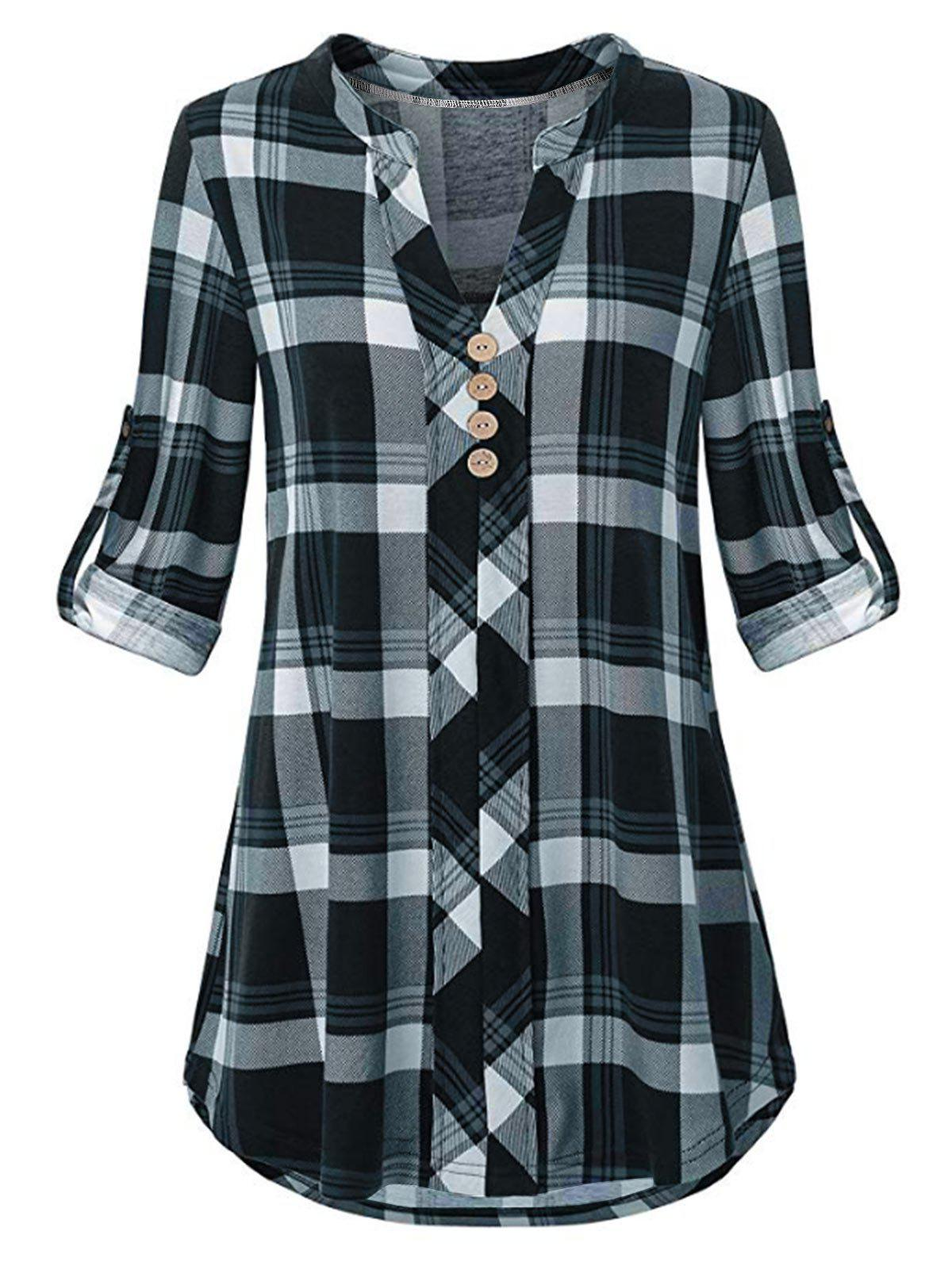 Discount Plus Size Roll Up Sleeve Split Neck Plaid Blouse