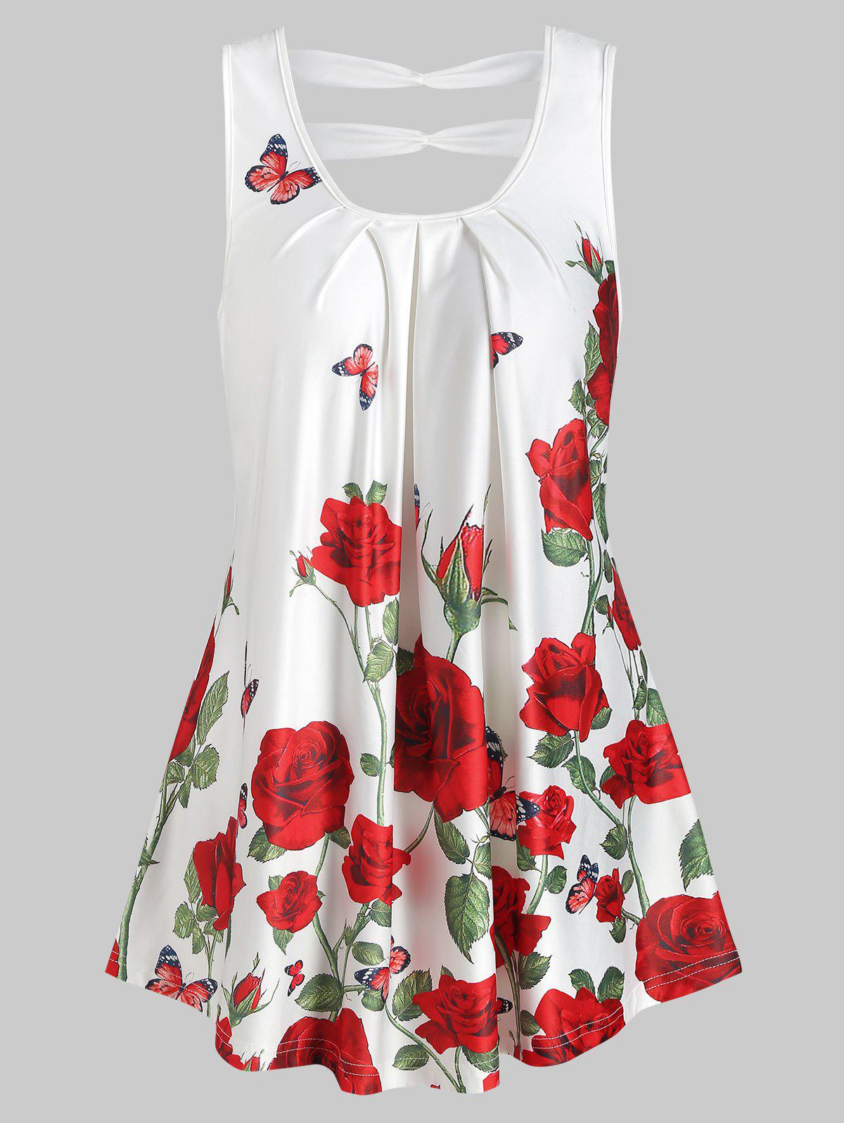 Online Rose Print Cut Out Pleated Tank Top