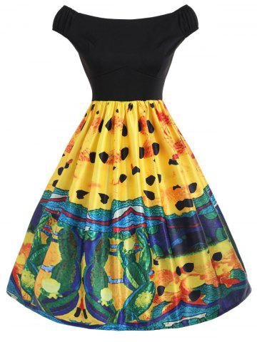 Abstract Print A Line Dress