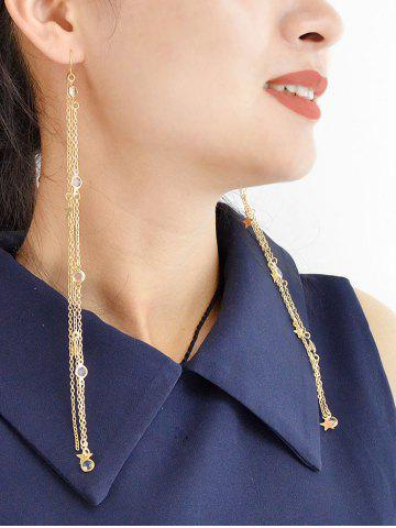 Star Rhinestone Tassel Long Drop Earrings