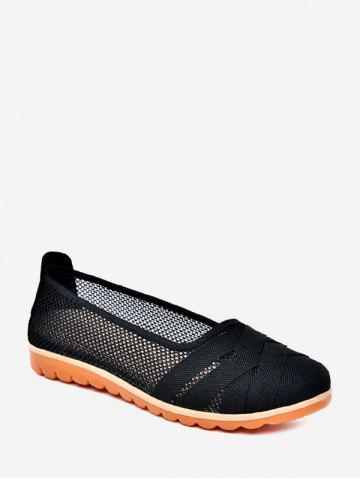 Cross Band Mesh Breathable Loafer Flat Shoes