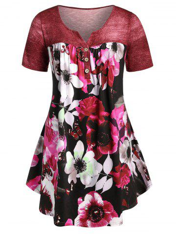 Plus Size Curved Floral T-shirt
