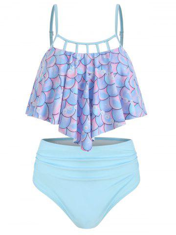 Scale Print Flounce Mermaid Ladder Cutout Tankini Swimsuit