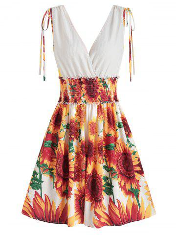 Sunflower Print Cinched Surplice Dress