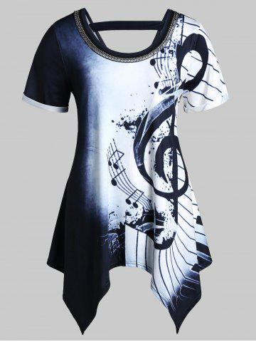 Plus Size Musical Notes Print Handkerchief Chains Embellished Tee