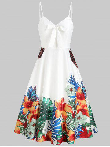 Spaghetti Strap Floral Print Fit And Flare Dress