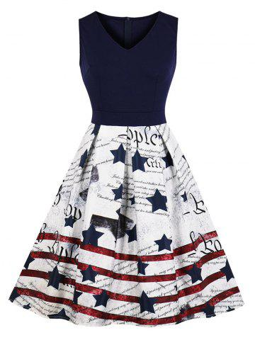 Pleated-detail American Flag Sleeveless Dress