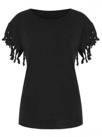 Fringed Solid Casual T-shirt
