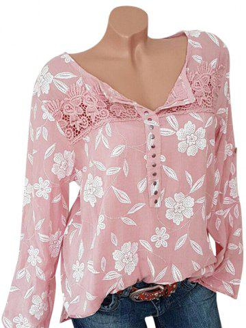 Plus Size Lace Crochet Chiffon Studded Floral Blouse