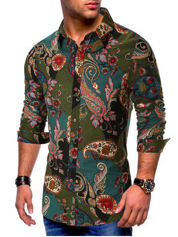 Long Sleeves Flower Paisley Print Button Shirt
