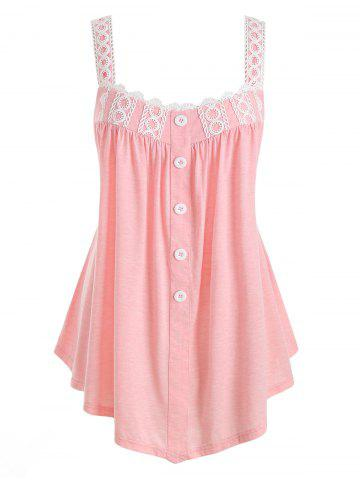 Plus Size Tunic Contrast Square Collar Tank Top - PIG PINK - 2X