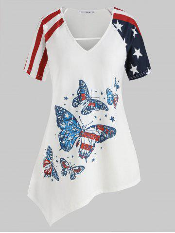 Plus Size American Flag Butterfly Print Asymmetrical Tunic - WHITE - 2X