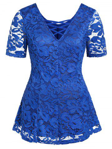 Plus Size Plunging Neck Lace See Thru T Shirt - BLUE - L