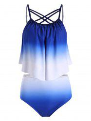 Ombre High Waisted Strappy Tankini Swimwear -