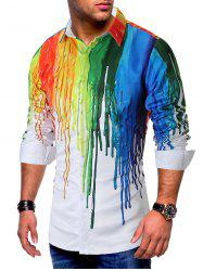 Colorful Painting Splatter Print Long Sleeves Casual Shirt -