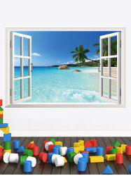 Faux Window Seascape Print Removable Wall Art Sticker -