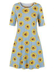 Sunflower Print Half Sleeve Tee Dress -