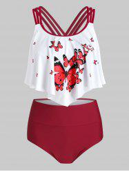 Butterfly Print Flounce Ruched High Waisted Tankini Swimsuit -