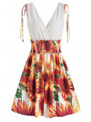 Sunflower Print Cinched Surplice Dress -