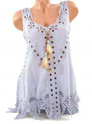 Hollow Out Feather Embellished Lace Panel Tank Top -