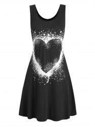 Heart Graphic Casual Tank Skater Dress -