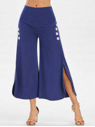 High Slit Buttons Wide Leg Pants -