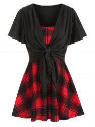 Square Neck Plaid Panel Tunic T Shirt -