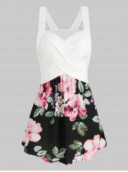 Sweetheart Neck Ditsy Print Flare Tank Top -