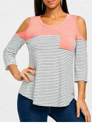 Cold Shoulder Patch Pocket Patch Striped T Shirt -