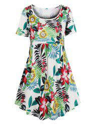 Floral Leaf Print Mini Smock Dress -
