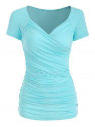 Plunge Surplice Ruched Tee -