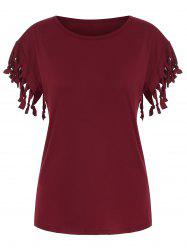 Fringed Solid Casual T-shirt -