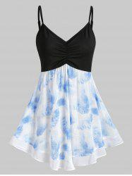 Contrast Printed Ruched A Line Cami Top -