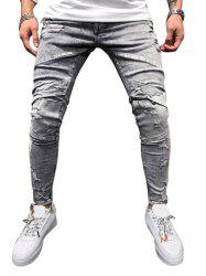 Zipper Decoration Ripped Casual Jeans -