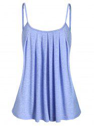 Spaghetti Strap Marled Pleated Tank Top -