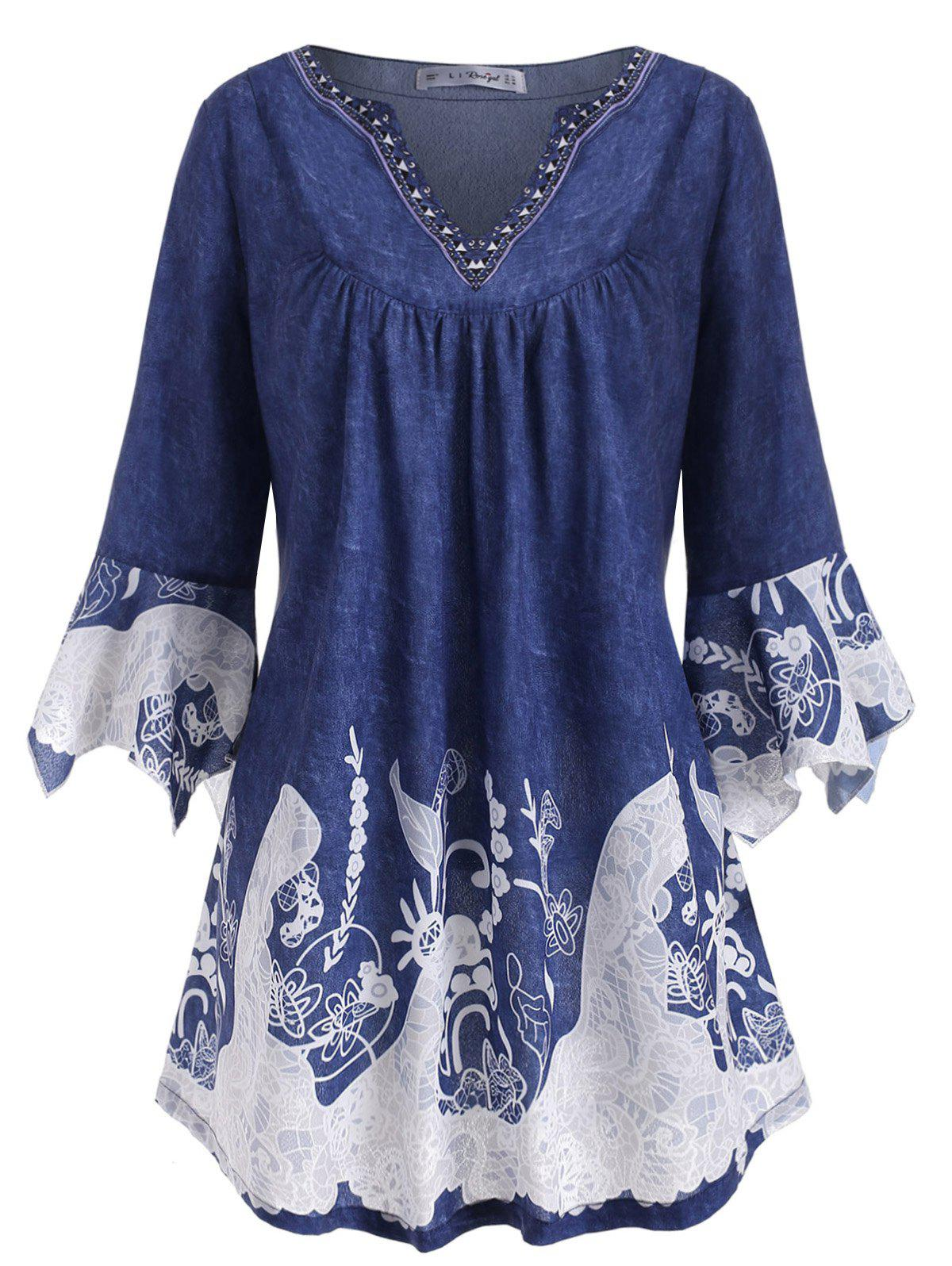Latest Notched Flare Sleeve Printed Plus Size Top
