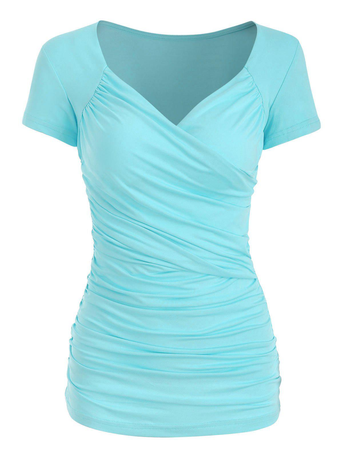 Hot Plunge Surplice Ruched Tee