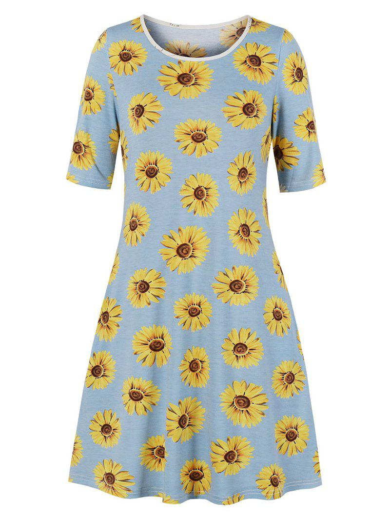 Hot Sunflower Print Half Sleeve Tee Dress