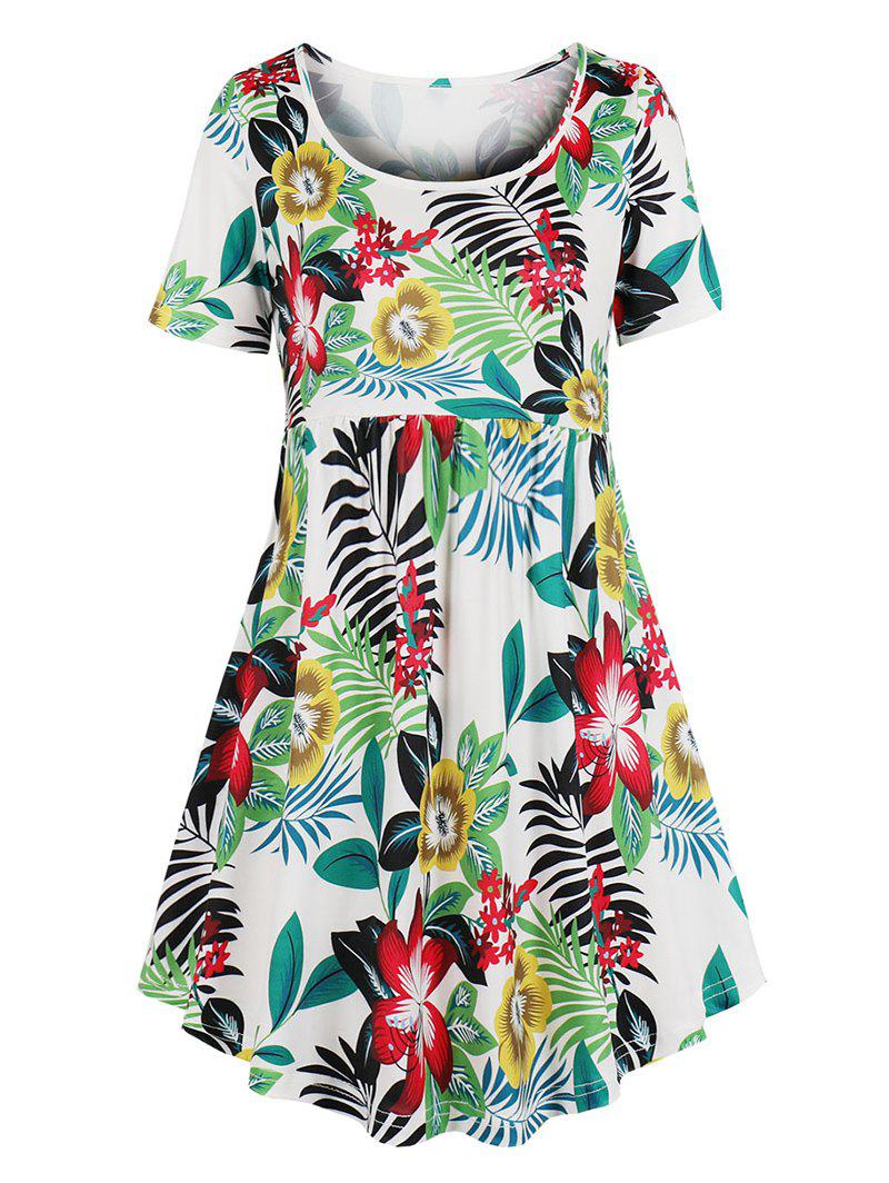 Discount Floral Leaf Print Mini Smock Dress