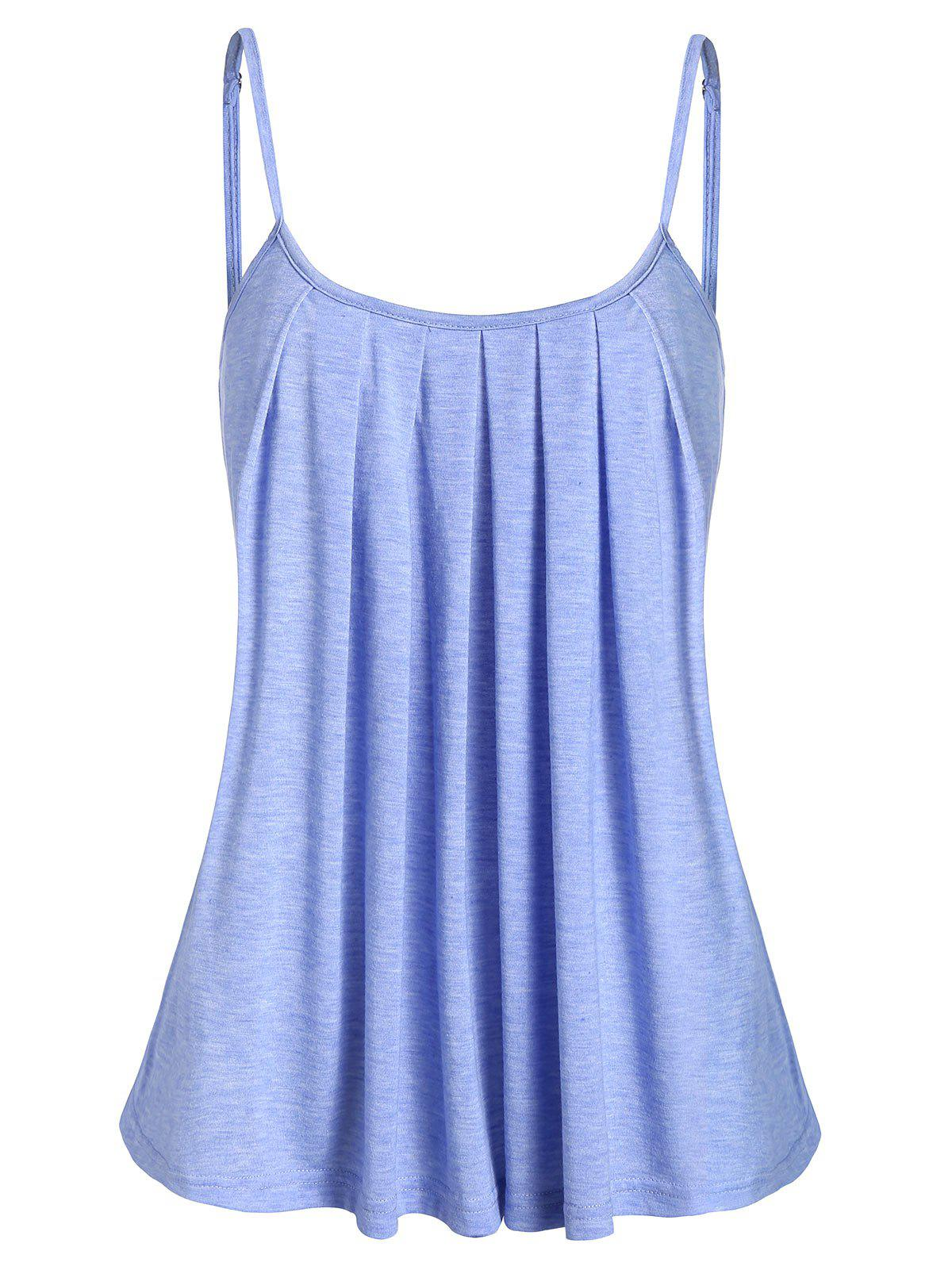 Unique Spaghetti Strap Marled Pleated Tank Top