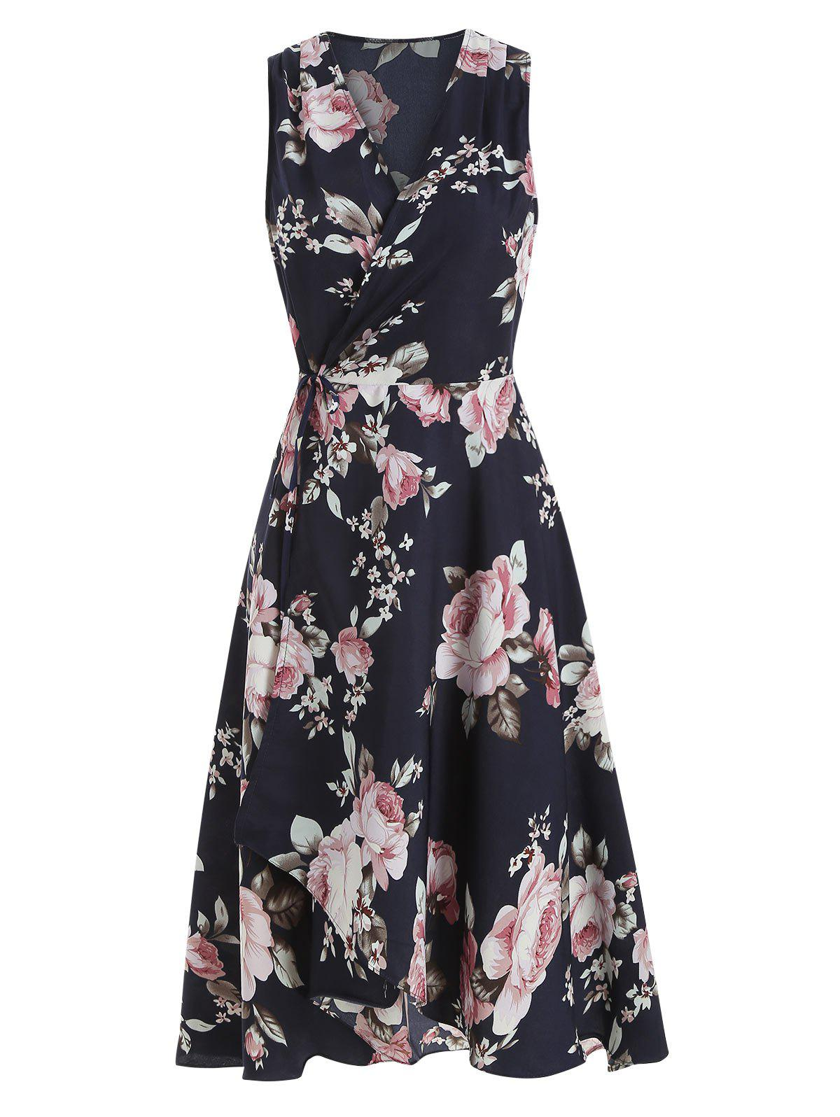 Affordable Floral Plunging Asymmetrical Dress