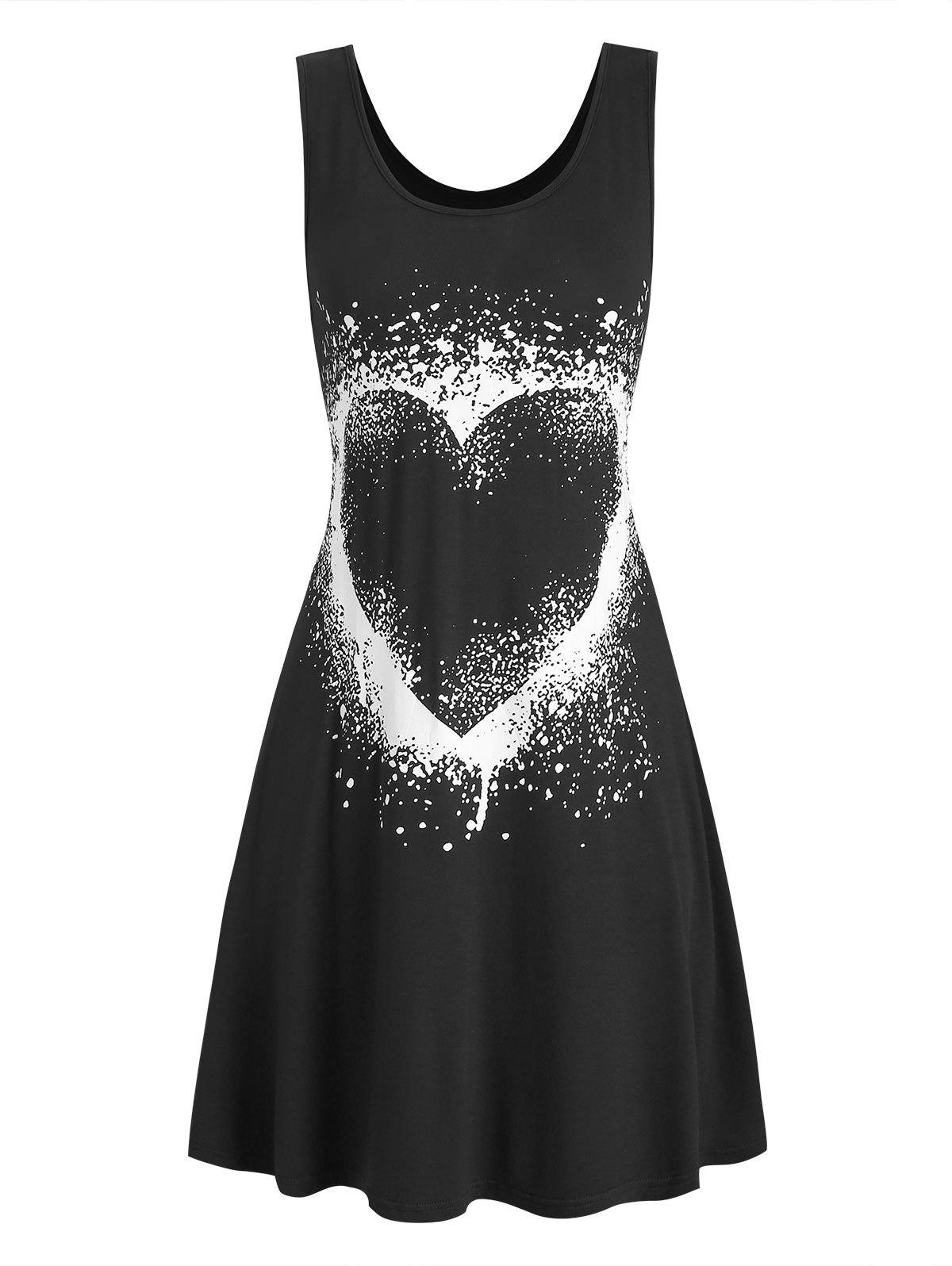 Affordable Heart Graphic Casual Tank Skater Dress