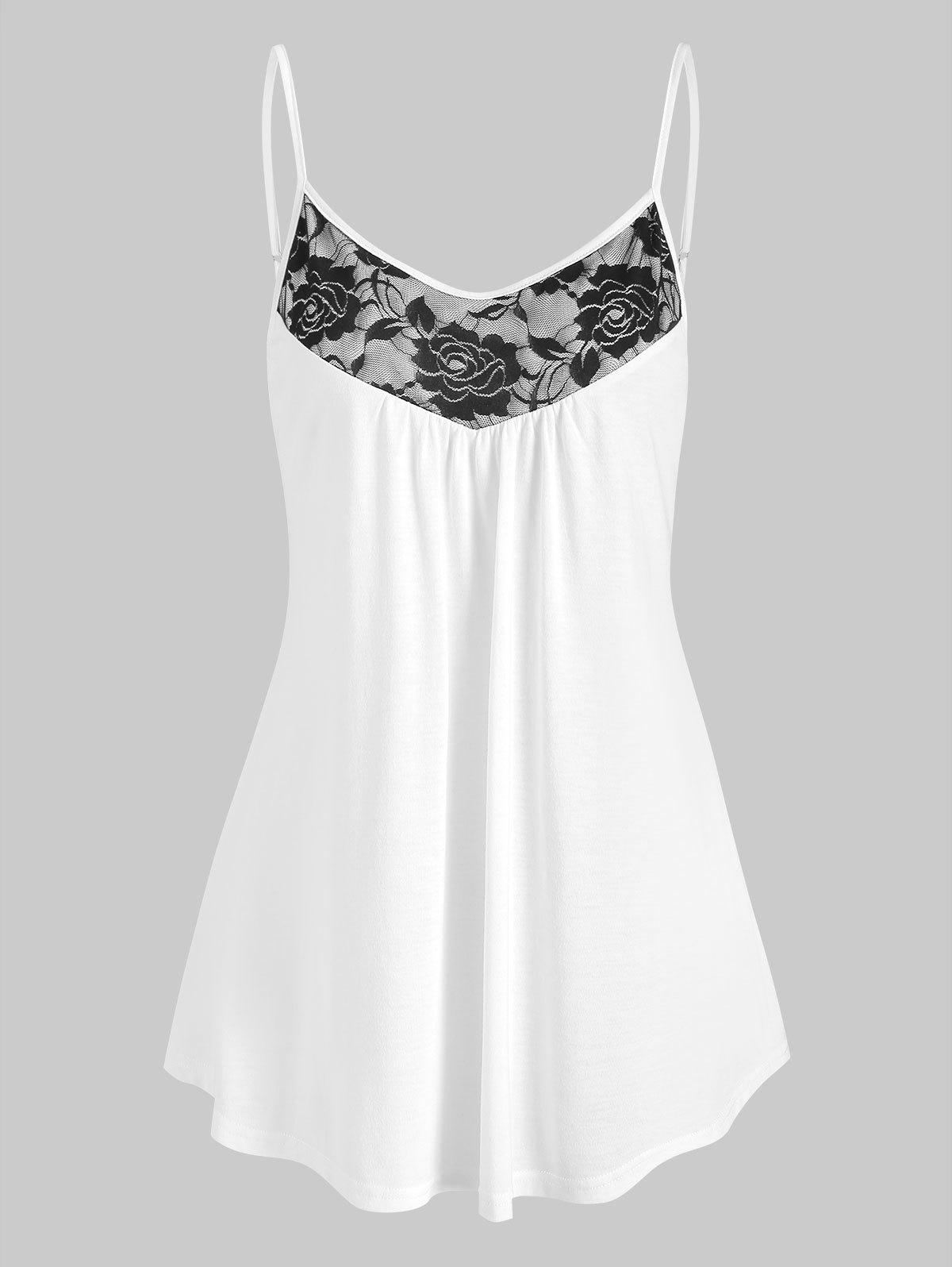 Online Curved Hem Flower Lace Insert Cami Top